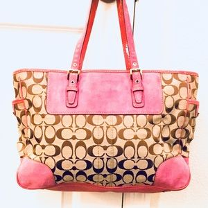 Coach Bags - Pink/Lilac COACH Large Classic Signature Tote